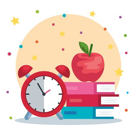 apple fruit with books and alarm clock supplies to back to school vector illustration