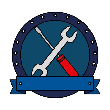 wrench and screwdriver tools crossed vector illustration design Illustration