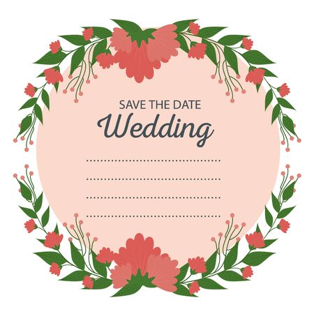 wedding card with flowers plants and leaves vector illustration