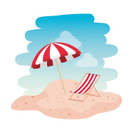 beach seascape scene with chair vector illustration design