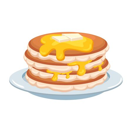 sweet pancakes with maple syrup vector illustration design