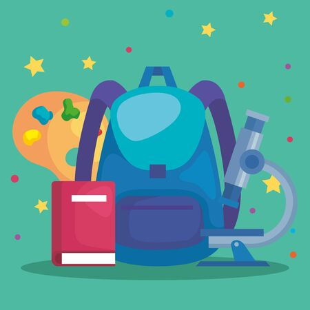 backpack with microscope and art palette with book to back to school vector illustration