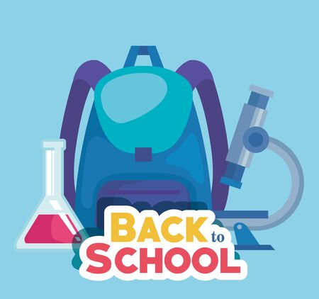 backpack with microscope and erlenmeyer flask supplies to back to school vector illustration