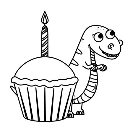 cute tyrannosaurus rex with sweet cupcake vector illustration design