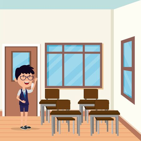 little student boy in the school scene vector illustration design