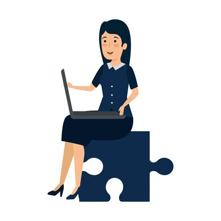 young businesswoman sitting in puzzle piece vector illustration design 向量圖像