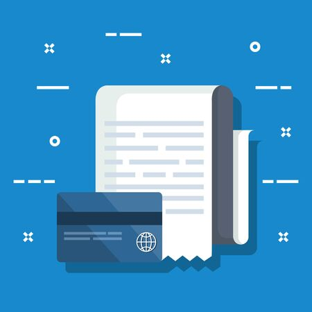 credit card with service invoice report vector illustration Stock Illustratie