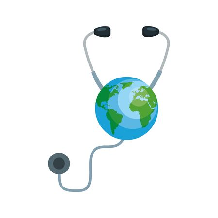 earth planet with stethoscope cardio device vector illustration design Stock Vector - 127319539