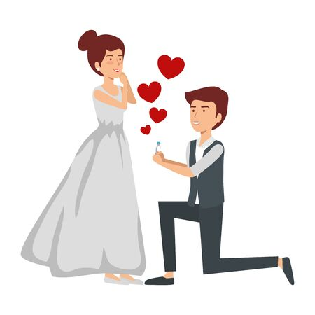 recently married couple with hearts floating vector illustration design Standard-Bild - 127369220