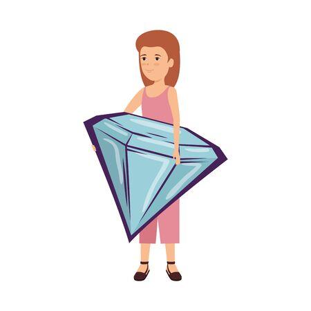 woman lifting diamond luxury vector illustration design