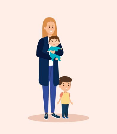 happy woman with cute baby and son vector illustration Ilustração