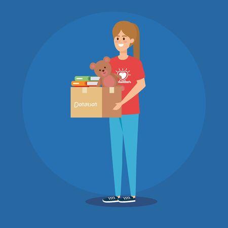 girl volunteer with box donation and teddy bear vector illustration Illustration