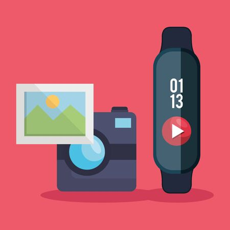 smartwatch technology with digital video and camera with picture vector illustration