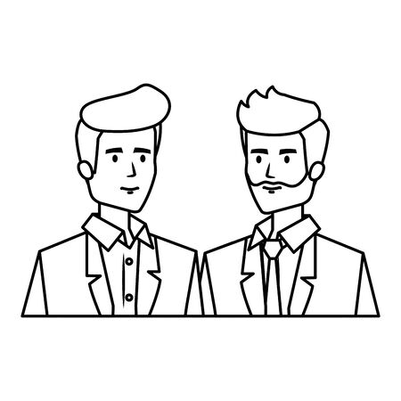 couple of businessmen avatars characters vector illustration design Иллюстрация