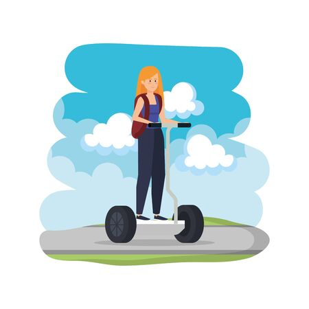 young woman in folding e-scooter on road vector illustration design 免版税图像 - 127383530