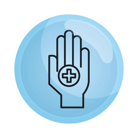 hand with medical cross icon vector illustration design