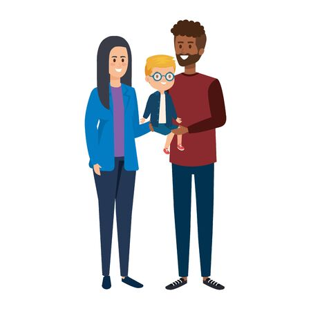 interracial parents couple with son characters vector illustration design Çizim