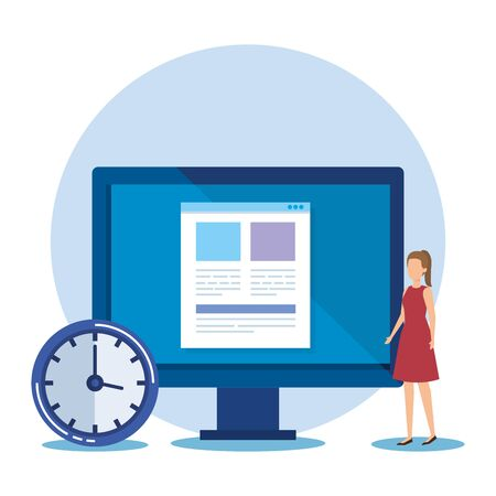 professional businesswoman with computer document and clock vector illustration Ilustração