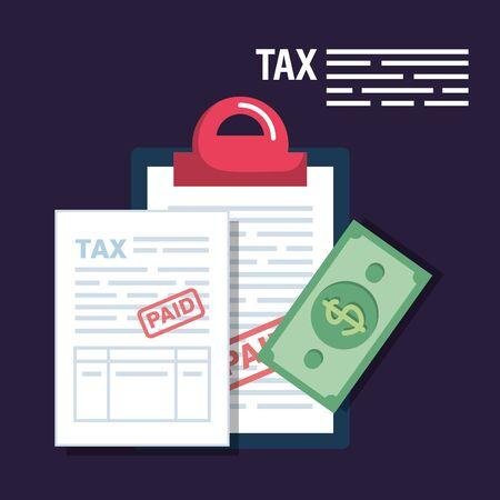 service tax report with bill money vector illustration Stock Illustratie