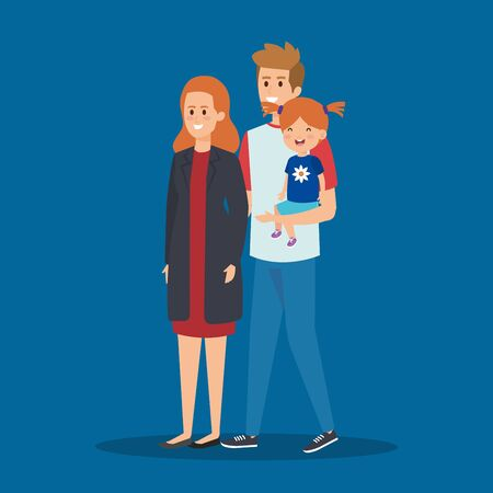 happy man and woman with their daughter and hairstyle vector illustration Ilustração