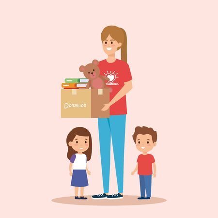 girl volunteer with box donation to kids vector illustration