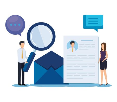 businesswoman and businessman with curriculum vitae and letter vector illustration
