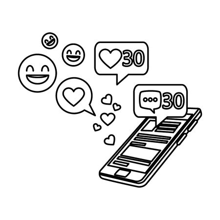 smartphone with social media icons vector illustration design Ilustração