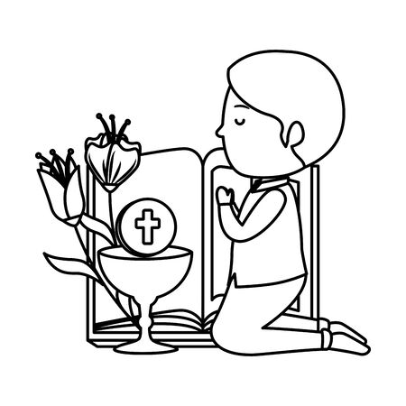 little boy kneeling with book and chalice first communion vector illustration design Illustration
