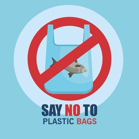 no more toxic plastics bag pollution in the world vector illustration
