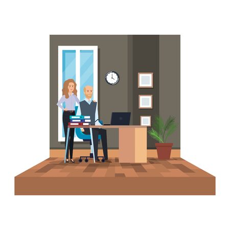 business couple in the office scene vector illustration design Ilustração