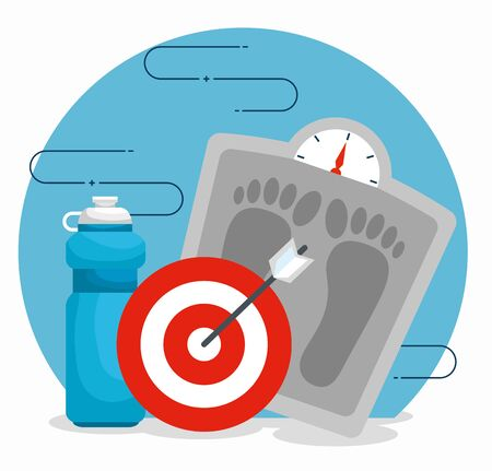 weighing machine with water bottle and target vector illustration