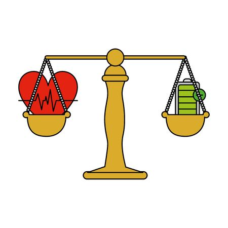 justice balance with heart cardio and energy battery vector illustration Ilustracja