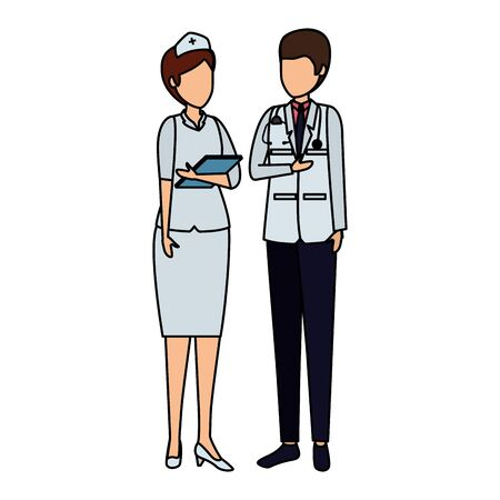 couple of professionals doctor and nurse characters vector illustration design