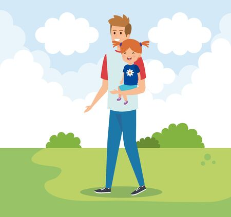 happy man with his daughter child and bushes vector illustration