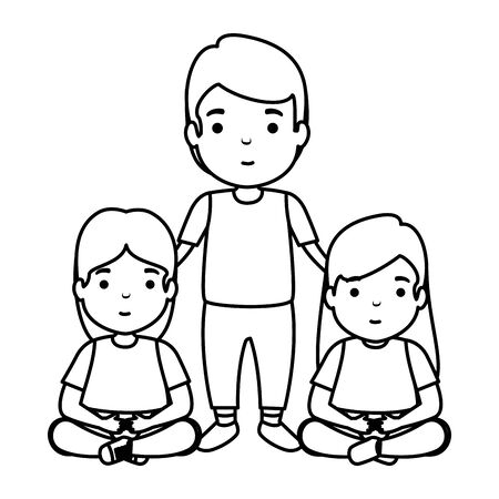 father with daughters characters vector illustration design Ilustrace