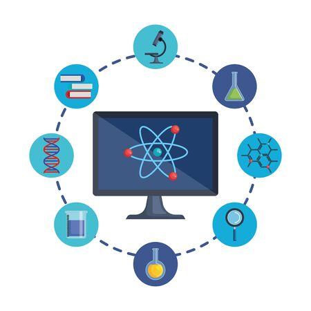 desktop computer with telemedicine icons vector illustration design Иллюстрация