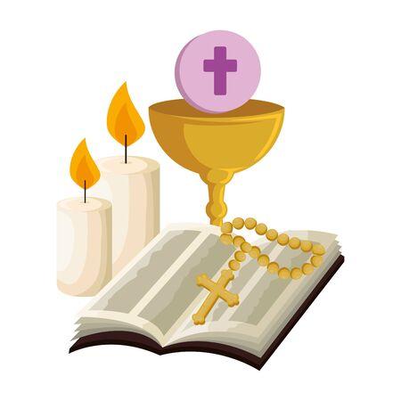 Sainte bible avec calice et chapelet vector illustration design