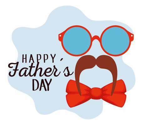 glasses with mustache and tie bow to fathers day vector illustration Иллюстрация
