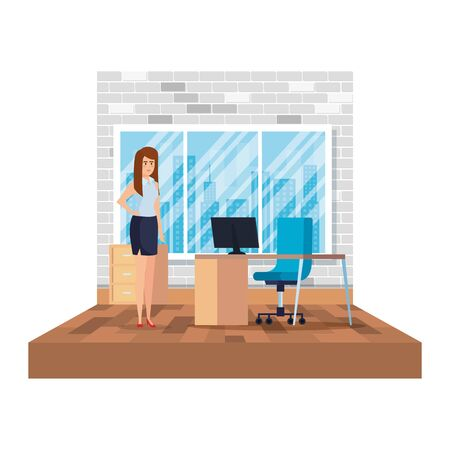 elegant businesswoman in the office scene vector illustration design Ilustracja