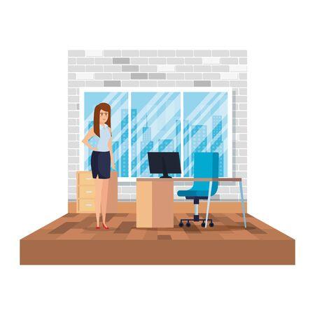 elegant businesswoman in the office scene vector illustration design Illustration