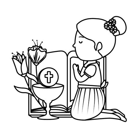 little kneeling girl with bible and flowers first communion vector illustration design