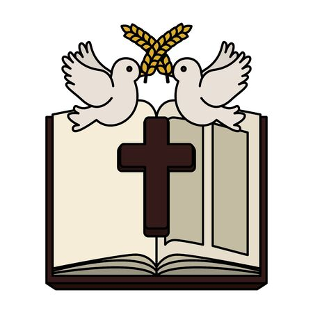 holy bible with wooden cross and doves vector illustration design Foto de archivo - 127564141
