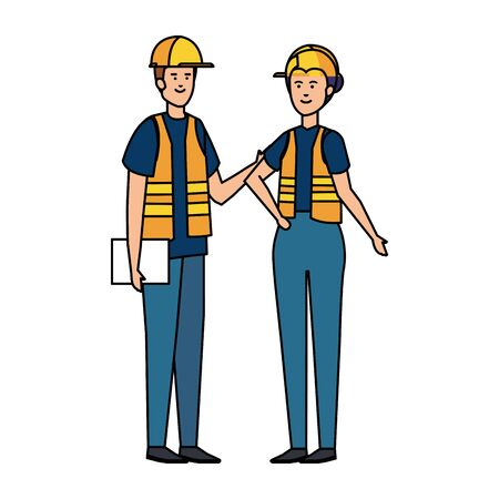 couple builders workers with helmets vector illustration design 矢量图像