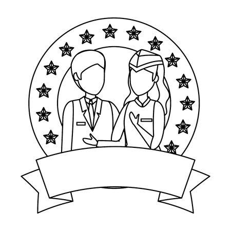 flight attendants couple avatars characters vector illustration design
