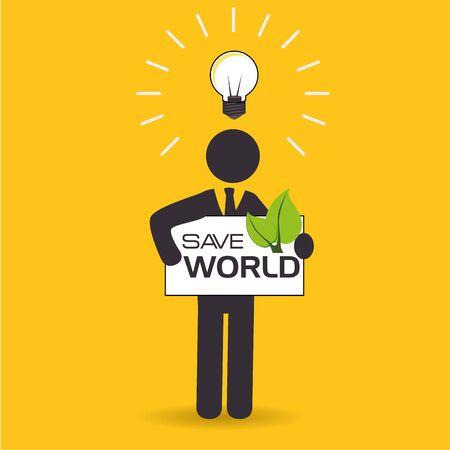 Ecology design over yellow background, vector illustration. Illustration