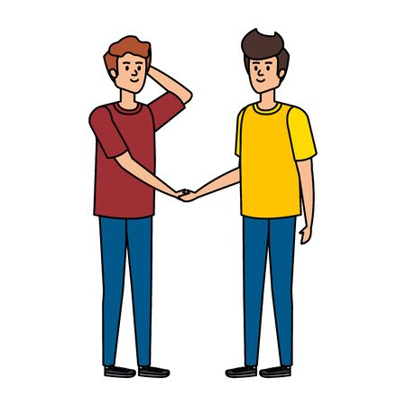 young men avatars characters vector illustration design