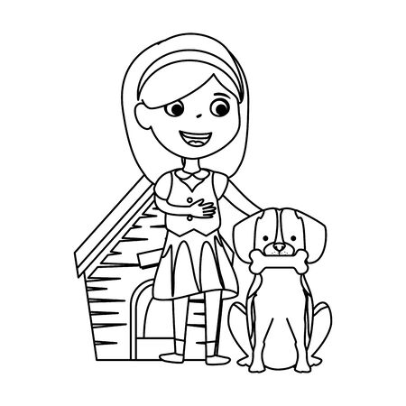 cute little girl with puppy and wooden house vector illustration design