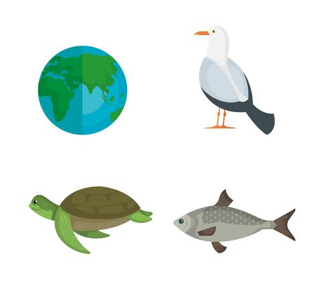set earth planet with animals to environment conservation vector illustration