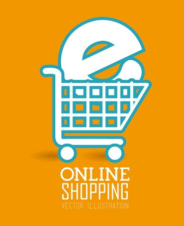 Shopping design over yellow background, vector illustration.