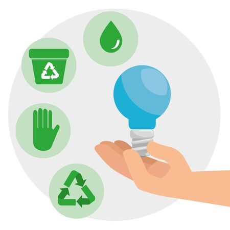 save bulb in the hands to environment conservation vector illustration Ilustração